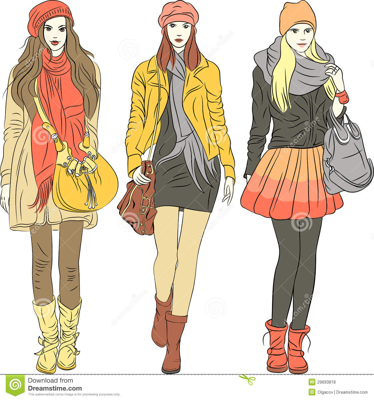 4bf81bae23 Set fashion stylish girls in warm pastel clothes. Designers Also Selected  These Stock Illustrations. vector ...