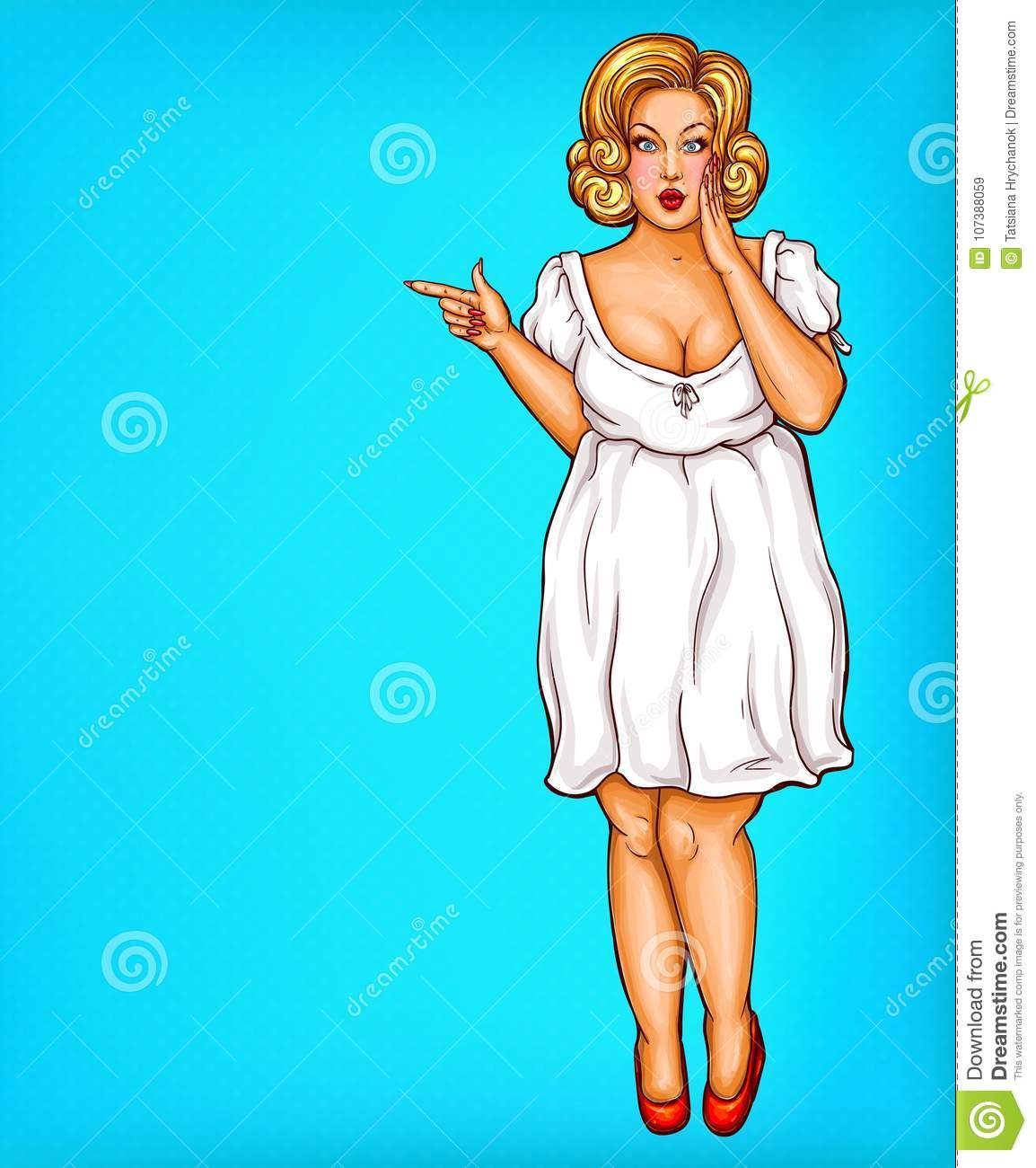 80e40b156e2c8 vector-fat-obese-blonde-pin-up-woman-pop-art-plus-size-model-white-dress -pointing-finger-discounts-sale-fashion-107388059.jpg