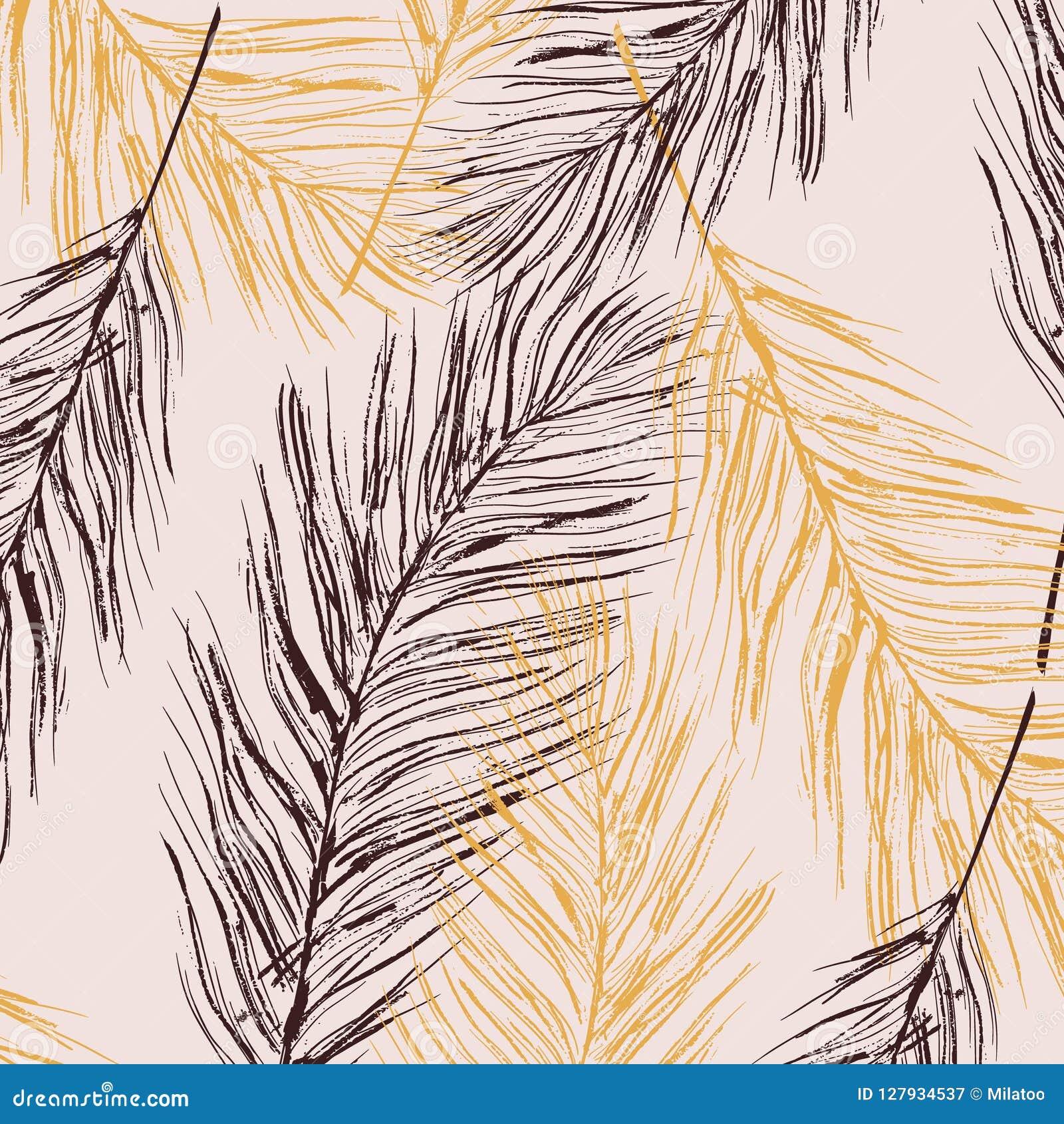 Vector feather pastel decoration. Birds fur elements. Elegant luxury home texture, interior decoration, Parrot symbol art.