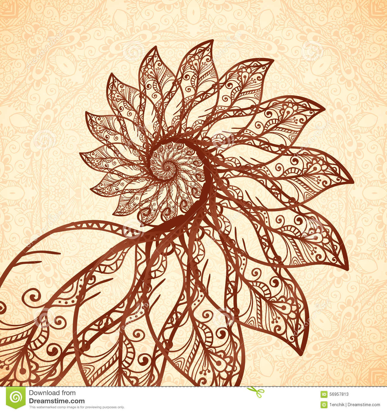 vector feathers spiral in henna tattoo style stock vector Henna Design Cards Henna Flowers Vector