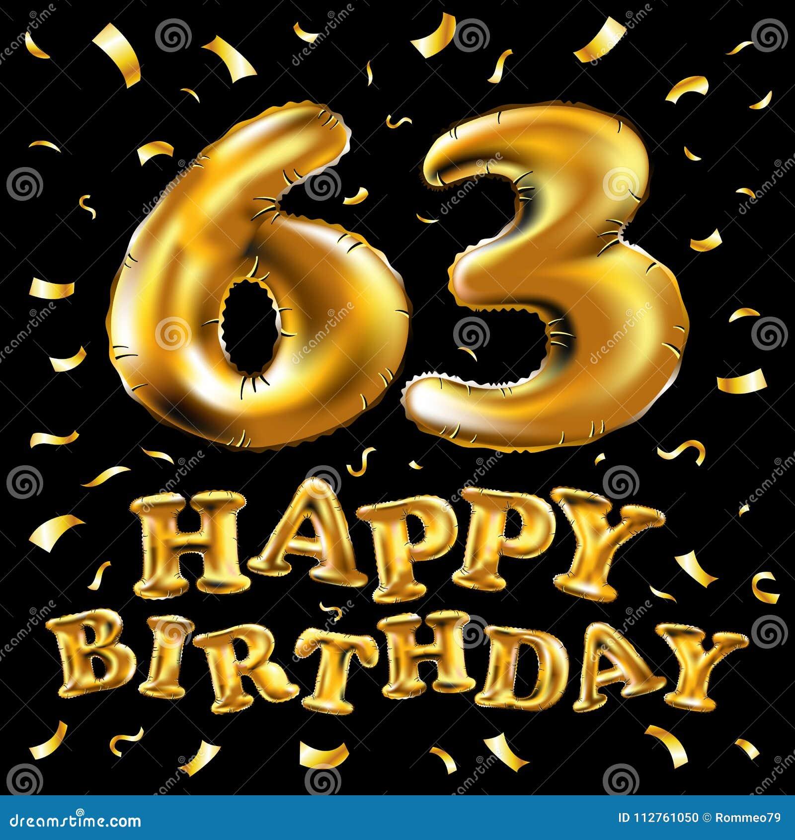 Vector Feiergoldballone Alles Gute Zum Geburtstag 63 Und Goldenes