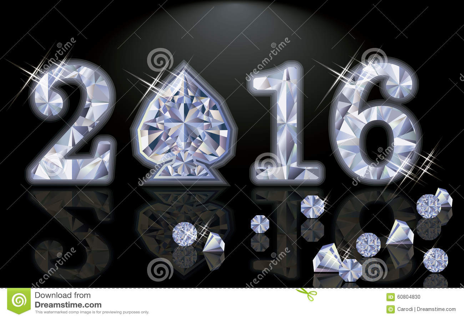 Vector feliz de la espada del póker del diamante del Año Nuevo 2016