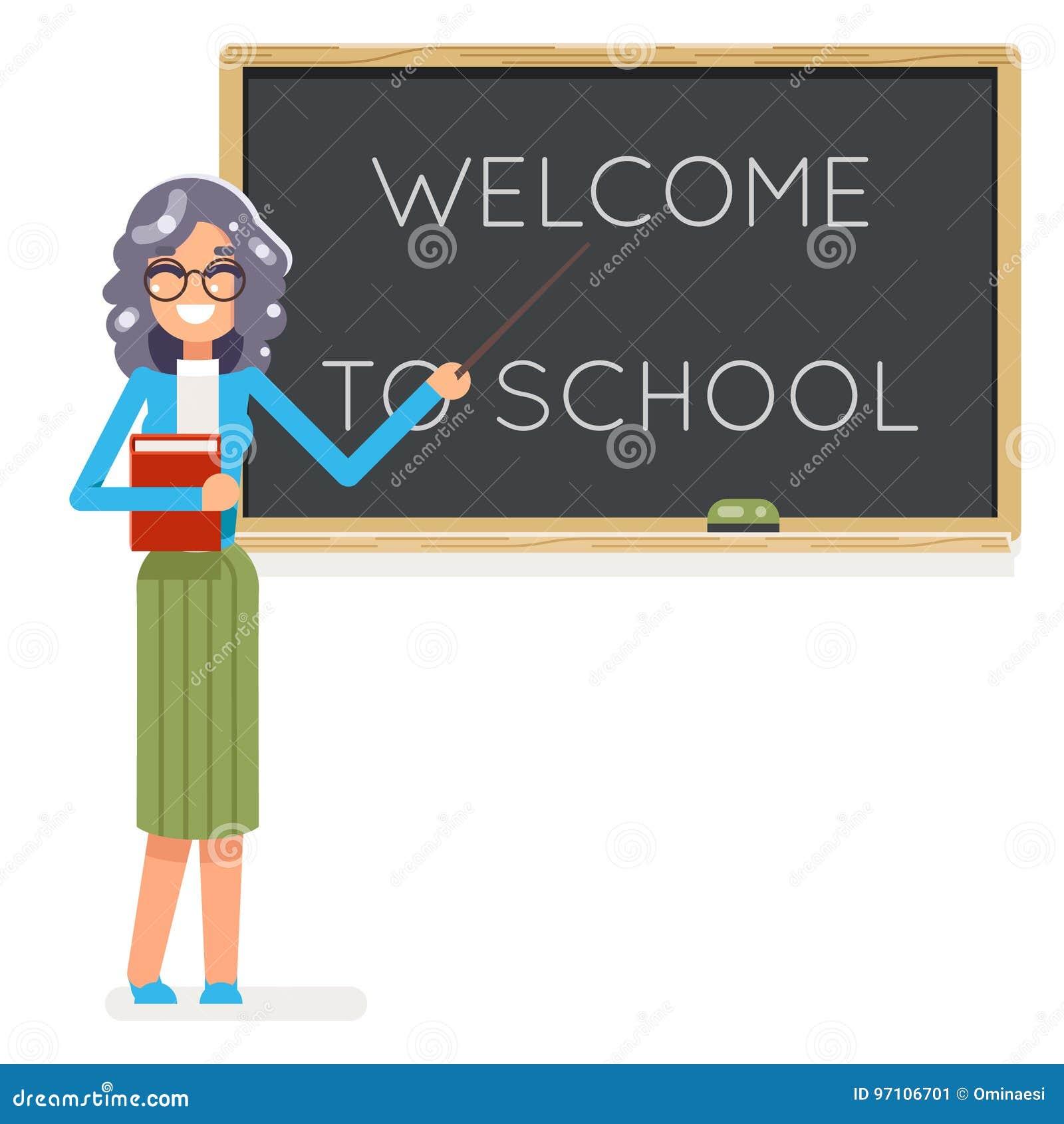 Vector femenino del fondo del consejo escolar de la sala de clase del icono del carácter de la lección de la educación de la clas
