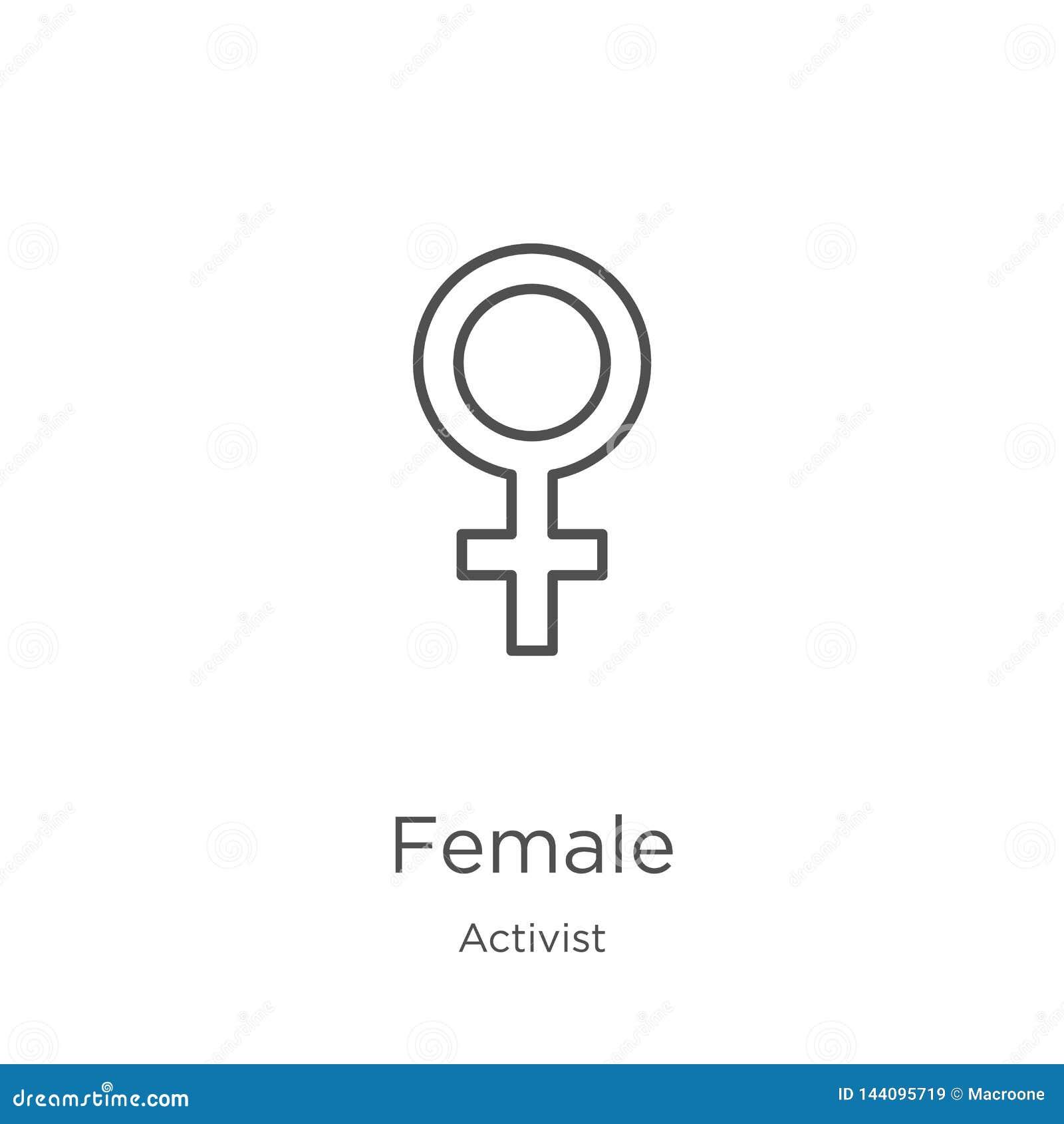 Vector femenino del icono de la colección del activista Línea fina ejemplo femenino del vector del icono del esquema Esquema, lín