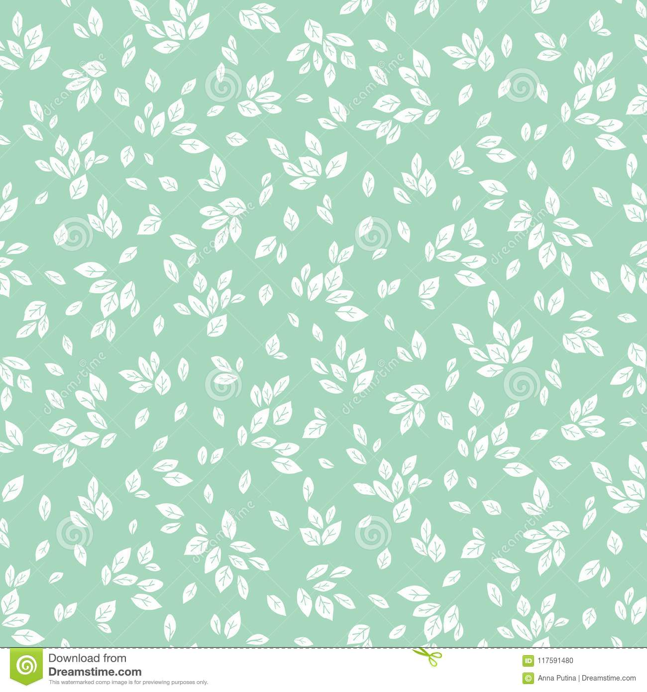 Vector Feminine Mint Green And White Monochrome Foliage Seamless