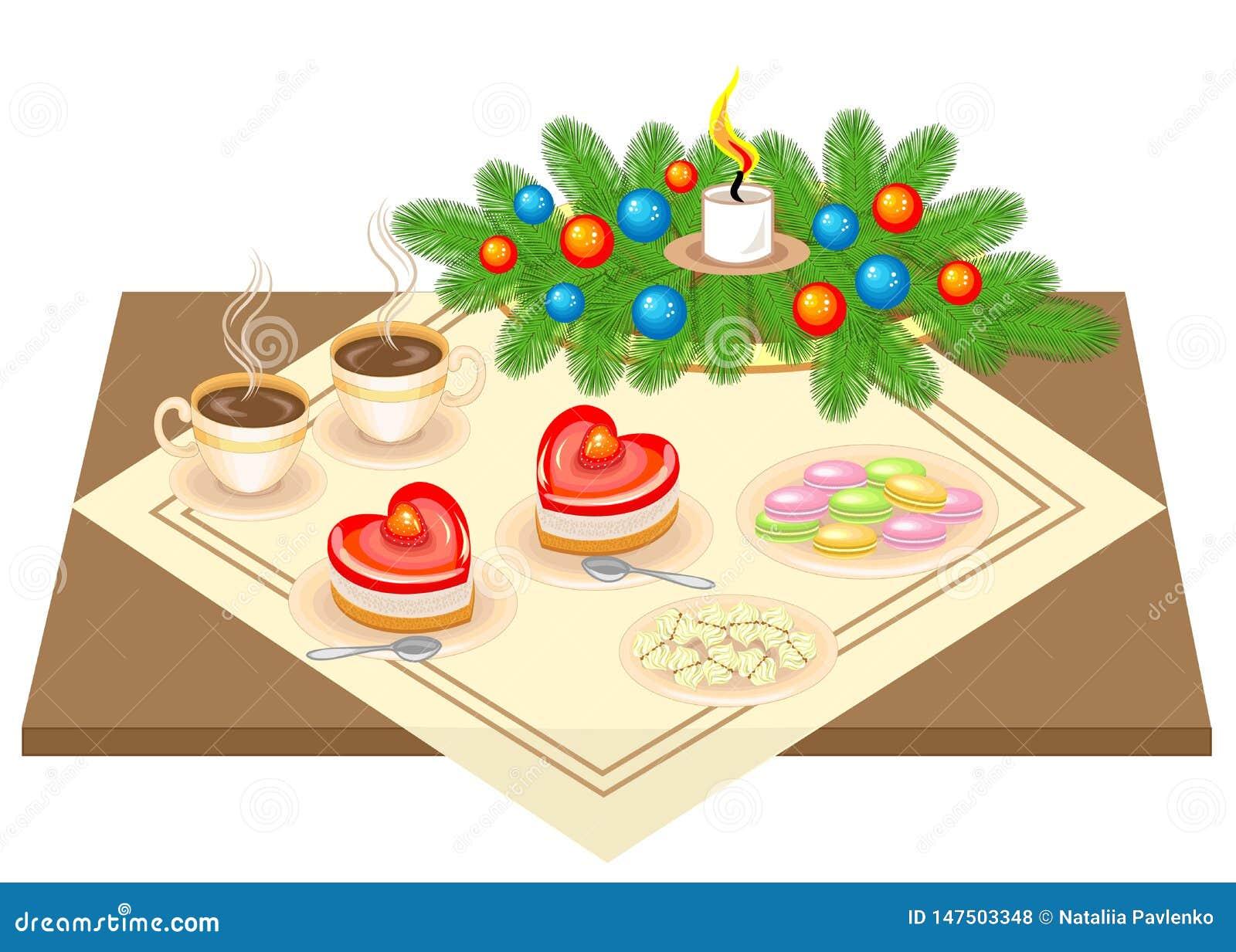 Vector festivo E Torta y t? o caf? en forma de coraz?n delicioso r