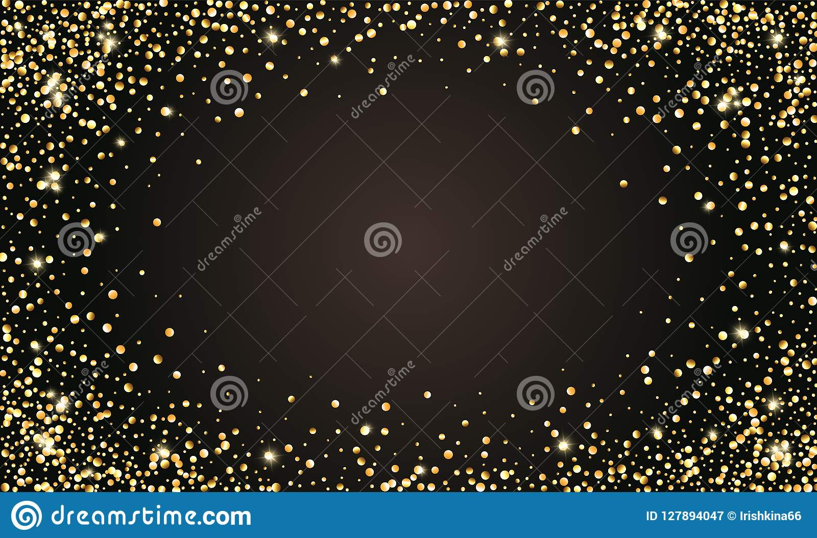 Vector festlichen schwarzen Hintergrund, goldenen funkelnden Konfettirahmen für Einladungen, Jahrestag, Feiergeburtstag