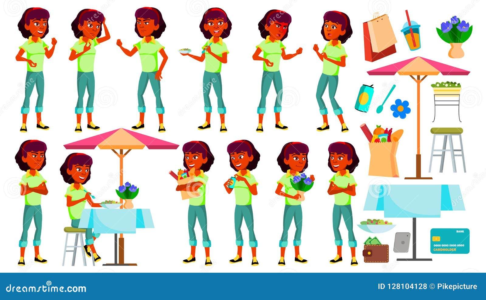 Vector fijado actitudes adolescentes de la muchacha Indio, hindú Asiático Cara Niños Para el web, folleto, diseño del cartel Hist