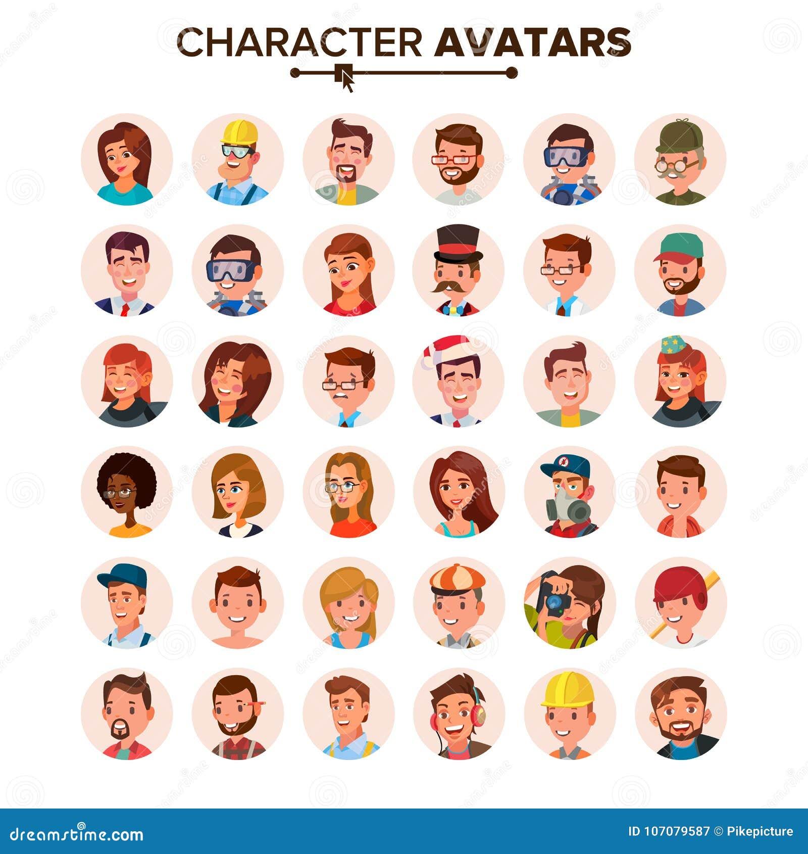 Vector fijado avatares de la gente Cara, emociones Placeholder de Avatar del carácter del defecto Plano, historieta, Art Flat Iso