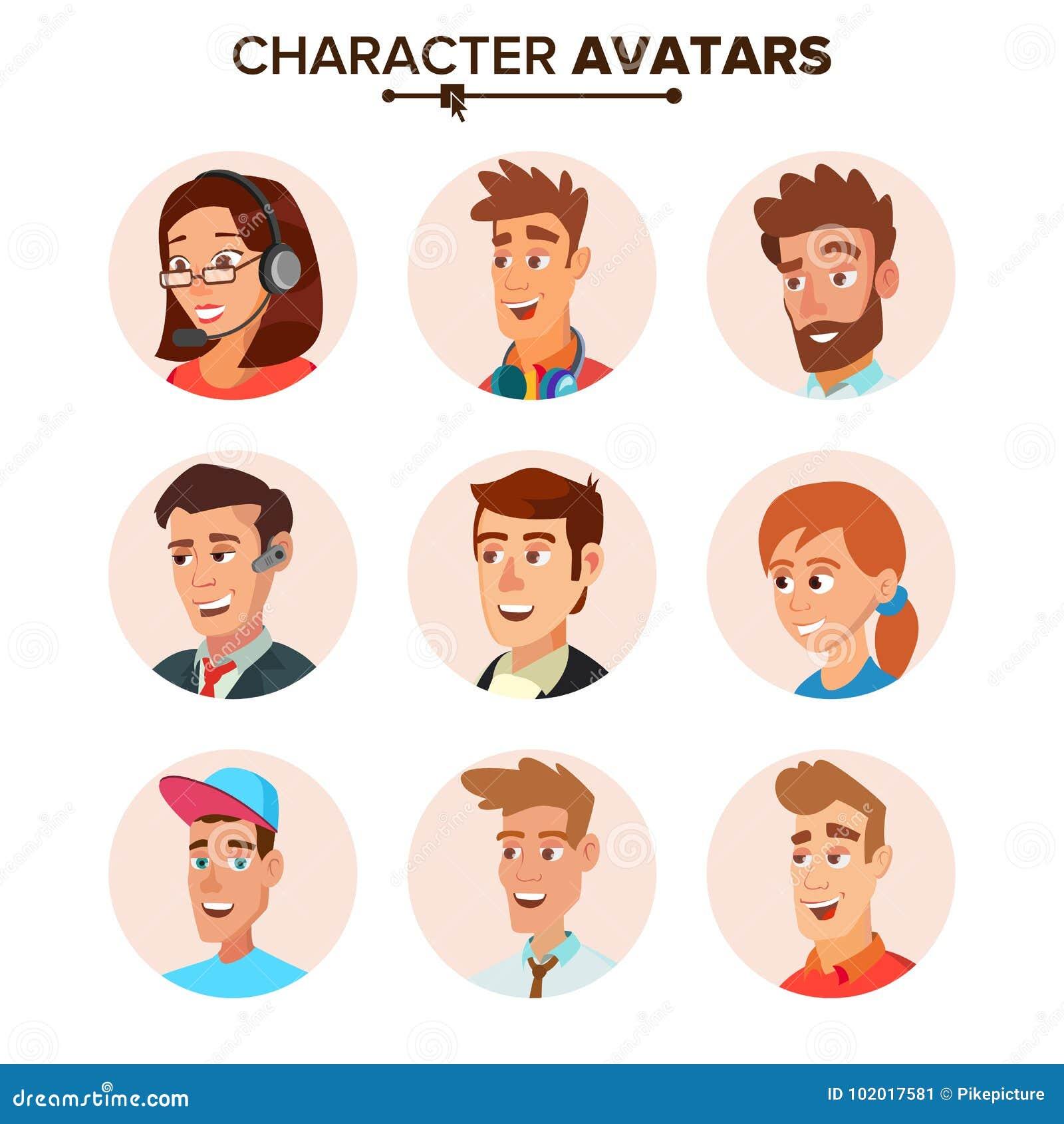 Vector fijado avatares de los caracteres de la gente Ejemplo aislado plano de la historieta