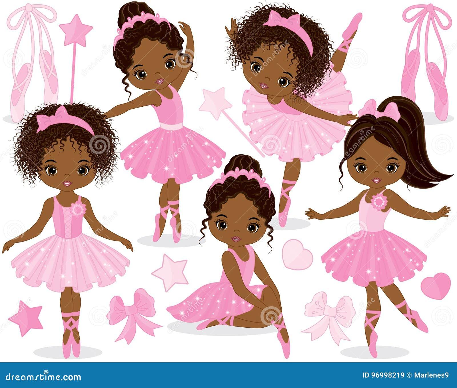 Vector fijado con las pequeñas bailarinas afroamericanas lindas