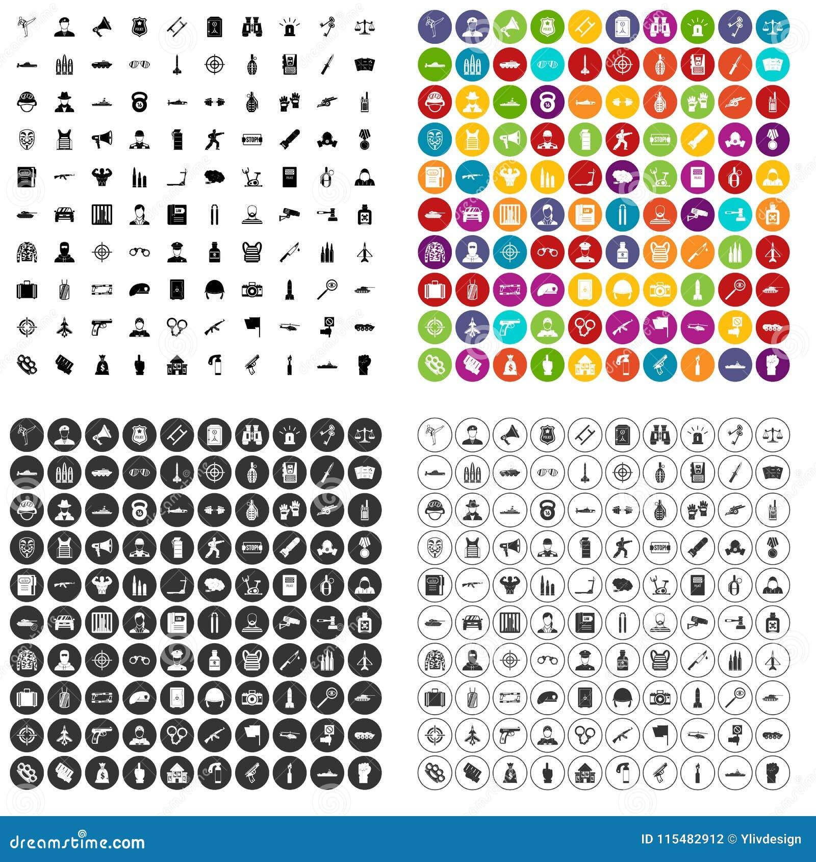 100 vector fijado del oficial iconos variable