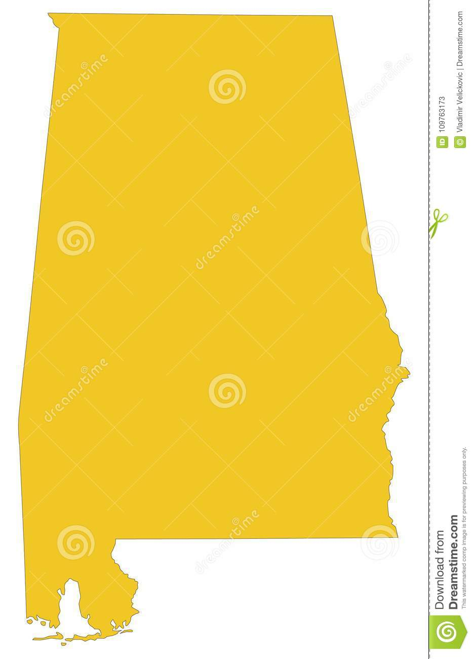 Alabama Map - State Of The United States Stock Vector - Illustration ...