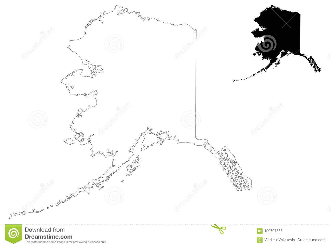 Alaska Map - State Of The United States Stock Vector - Illustration ...