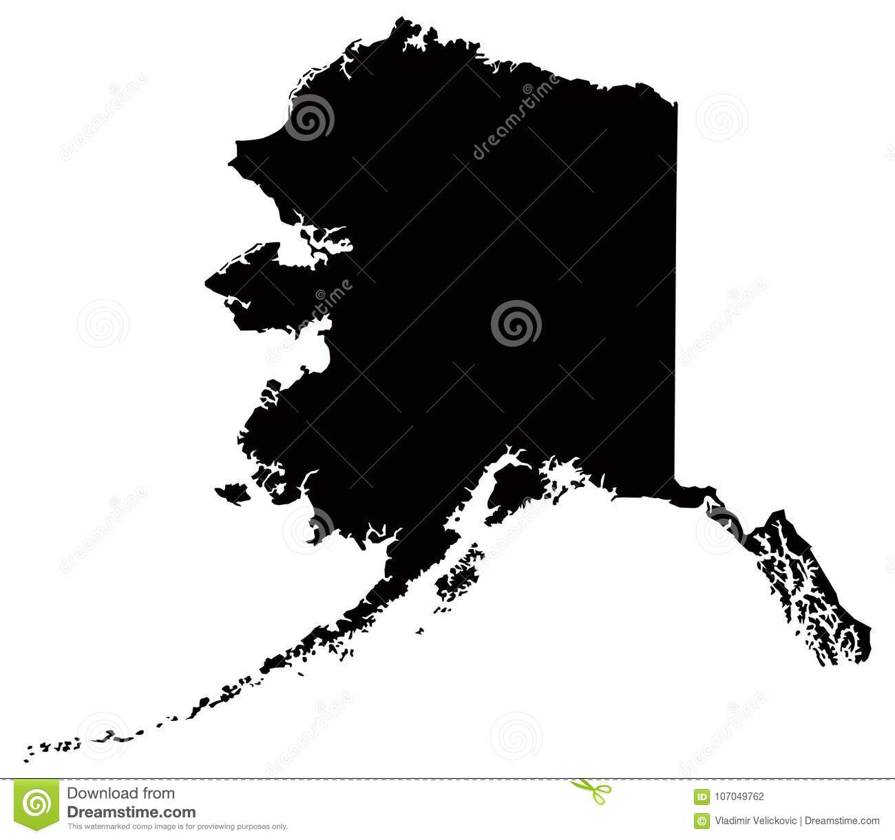 Alaska Map - State In The United States O America Stock Vector ...