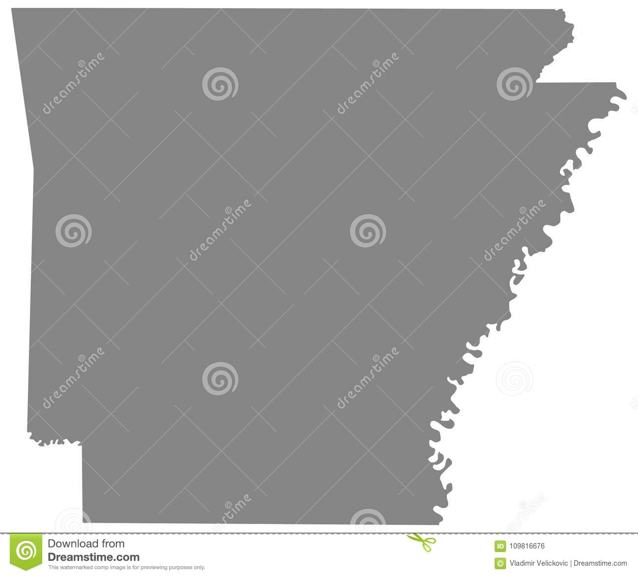 Arkansas Map State In The Southeastern Region Of The United States