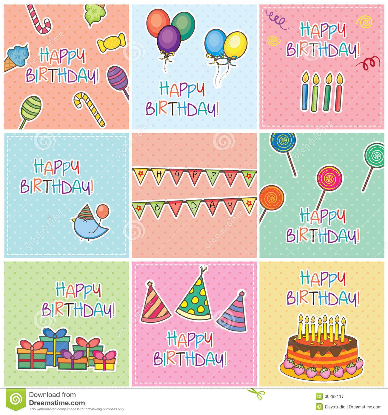 birthday cards digital set royalty free stock photography  image, Birthday card