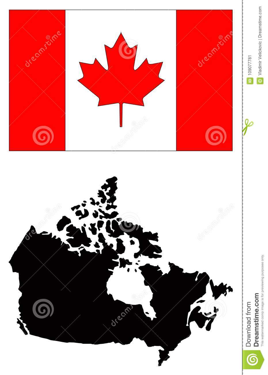 Canada Map And Flag - Country In North America Stock Vector ...