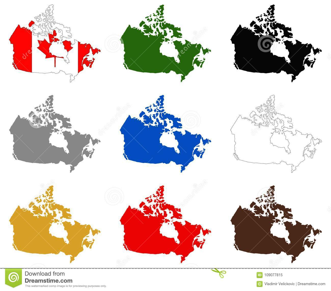 Country Of Canada Map.Canada Maps And Flag Country In North America Stock Vector