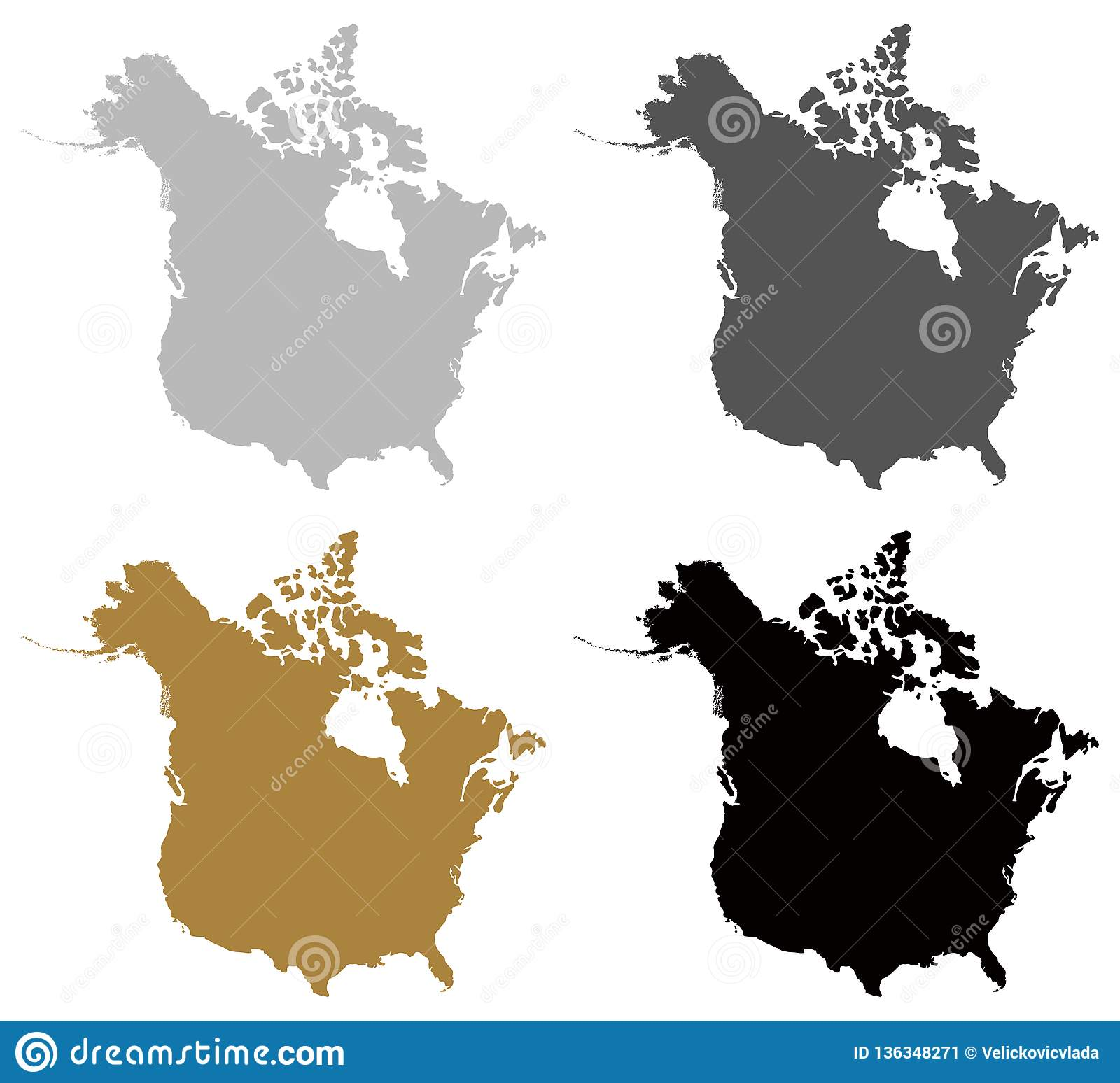 Canada And USA Map - Two Countries In North America Stock Vector ...