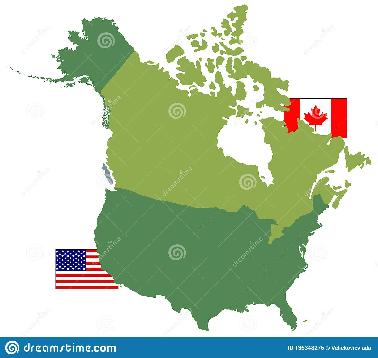 Map Of Toronto Canada And Usa.Canada And Usa Maps And Flags Two Countries In North America Stock