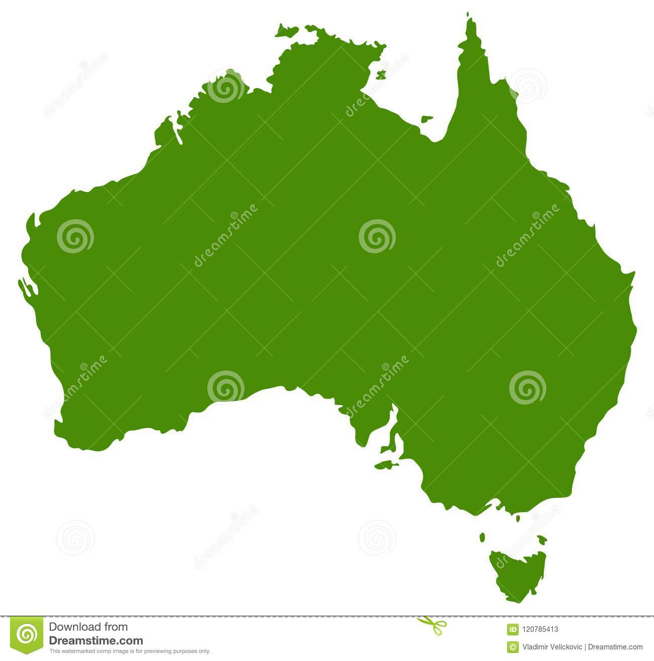 Country Map Of Australia.Australia Map Country Of The Australian Continent Stock Vector