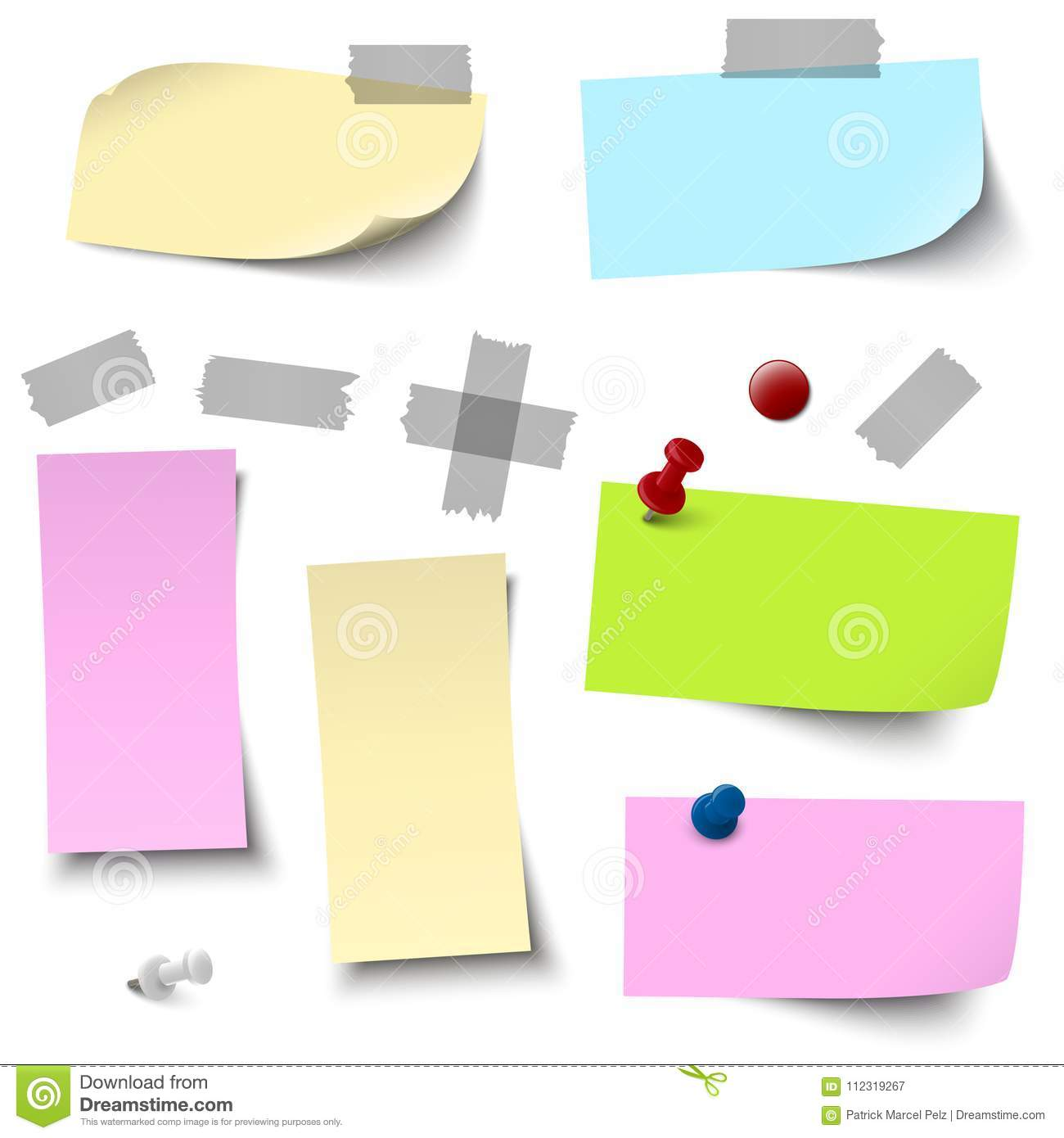 Empty Colored Papers With Accessories Stock Vector Illustration Of