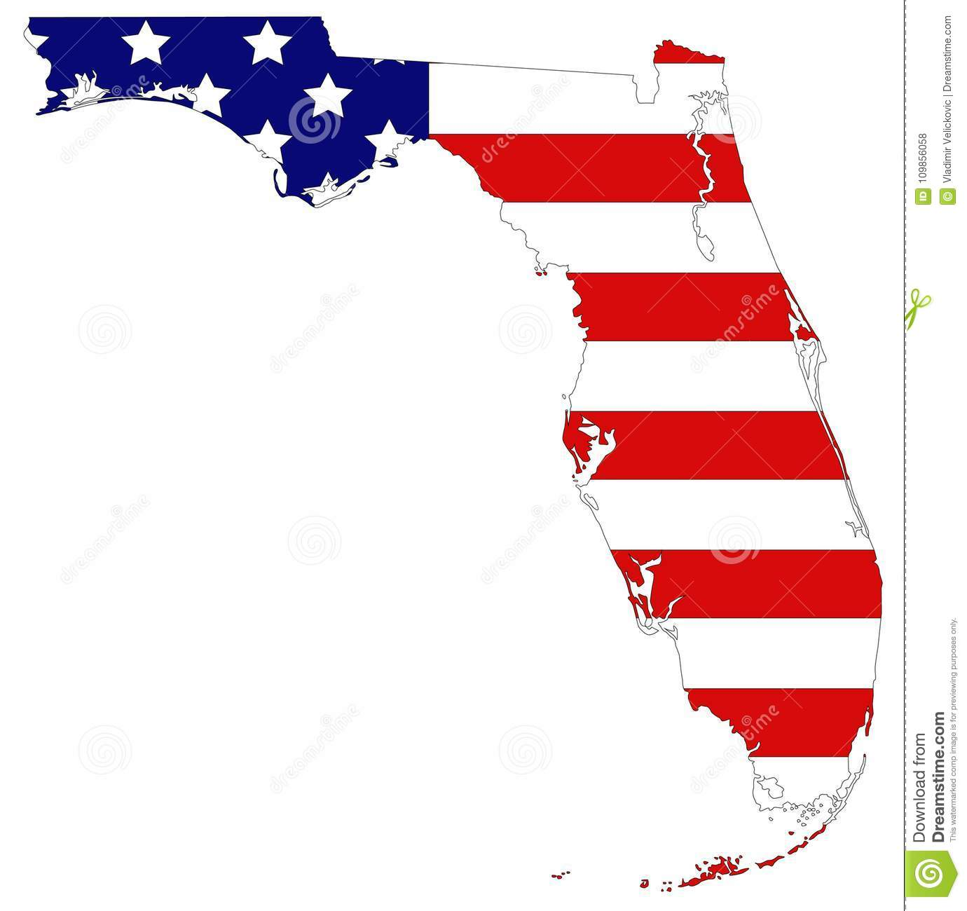 Florida Map Usa.Florida Map With Usa Flag Southernmost Contiguous State In The