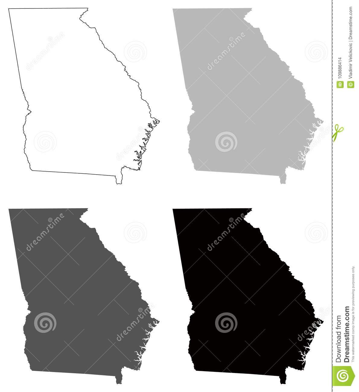 Georgia Map - State In The Southeastern United States Stock Vector on usa map maryland, usa map alaska, usa map south carolina, usa map arizona, usa map kentucky, usa map mississippi, usa map minnesota, usa map ohio, usa map colorado, usa map virginia, usa map north carolina, usa map pennsylvania, usa map alabama, usa map florida, usa map montana, usa map idaho, usa map california, usa map oklahoma, usa map maine, usa map atlanta,