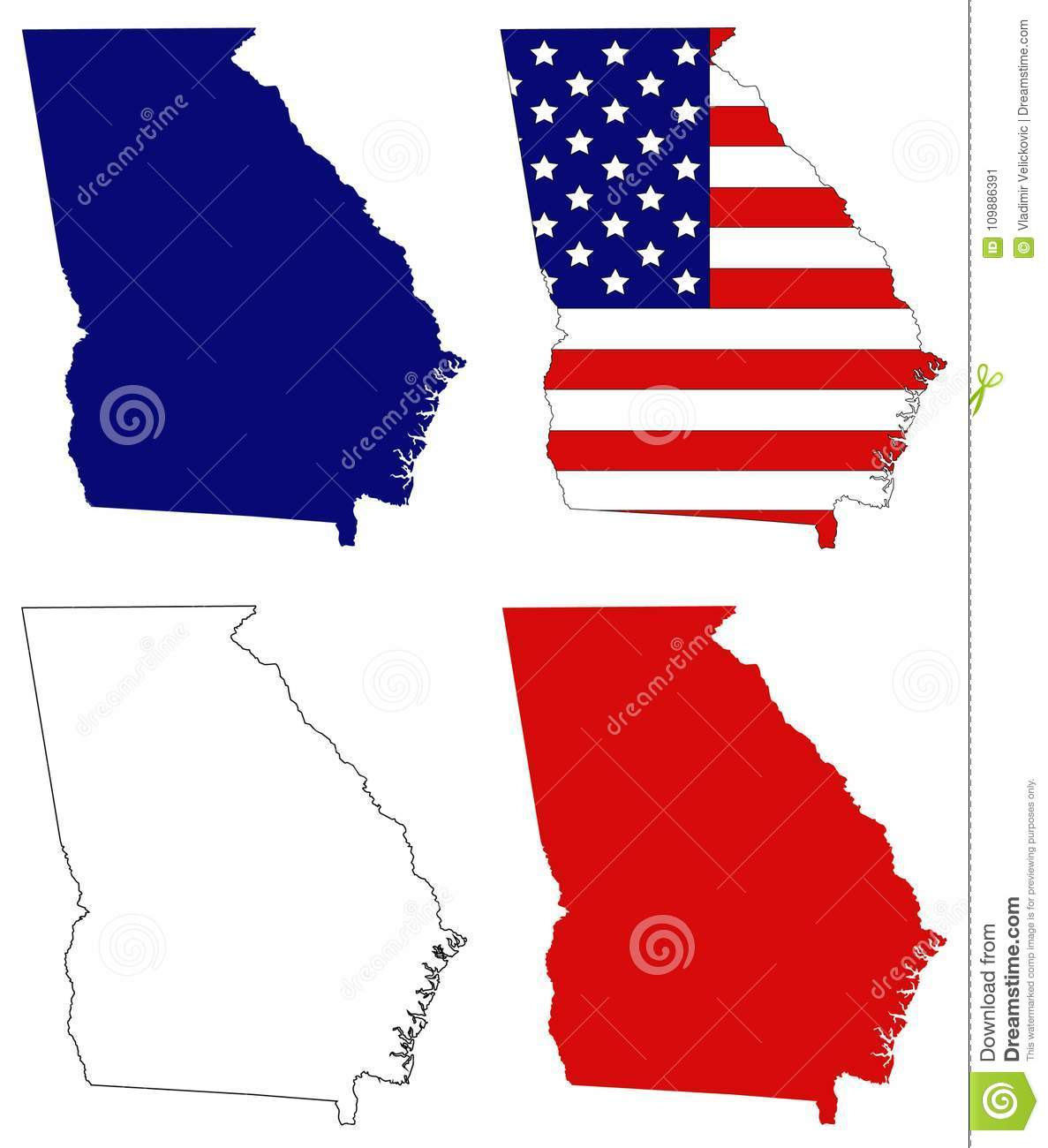 Map Of Usa Georgia.Georgia Map With Usa Flag State In The Southeastern United States