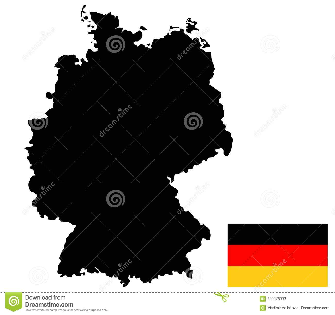Country Of Germany Map.Germany Map And Flag Country In Central Western Europe Stock
