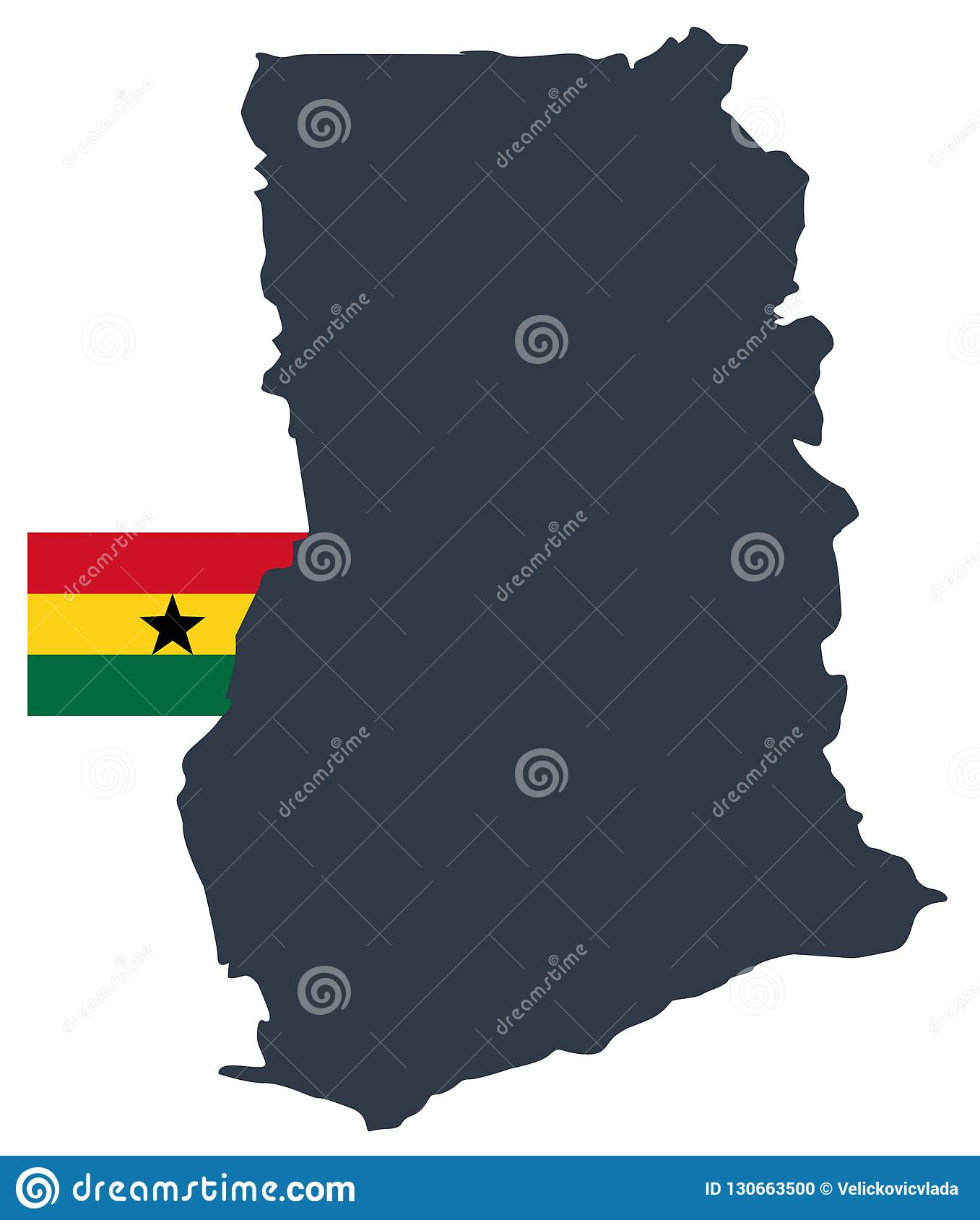 Picture of: Ghana Flag And Map Country In The West Africa Stock Vector Illustration Of Africa Topography 130663500