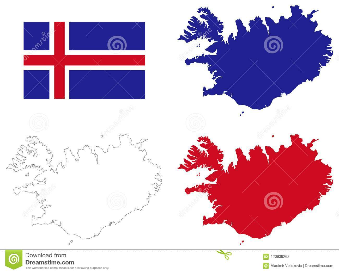 Nordic Europe Map.Iceland Map And Flag Nordic Island Country In Europe Stock Vector
