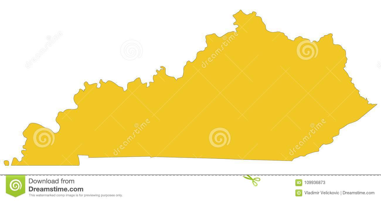 Kentucky Map - East South-central Region Of The United States Stock ...