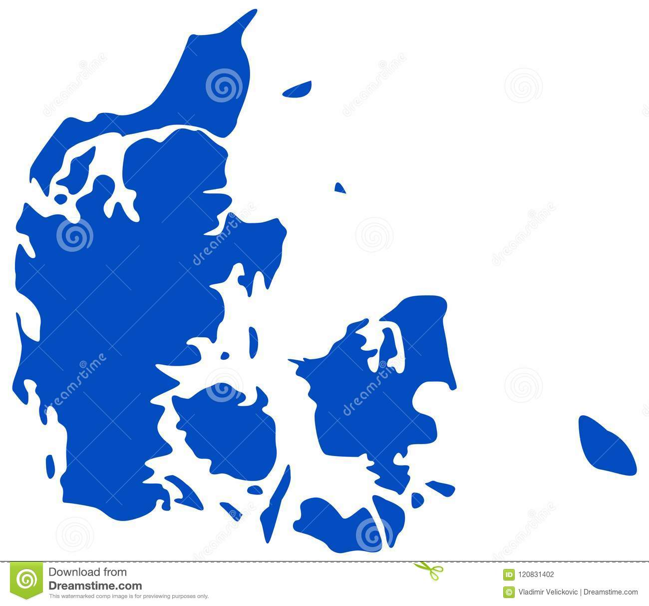 Denmark Map - Nordic Country And A Sovereign State In Europe Stock ...