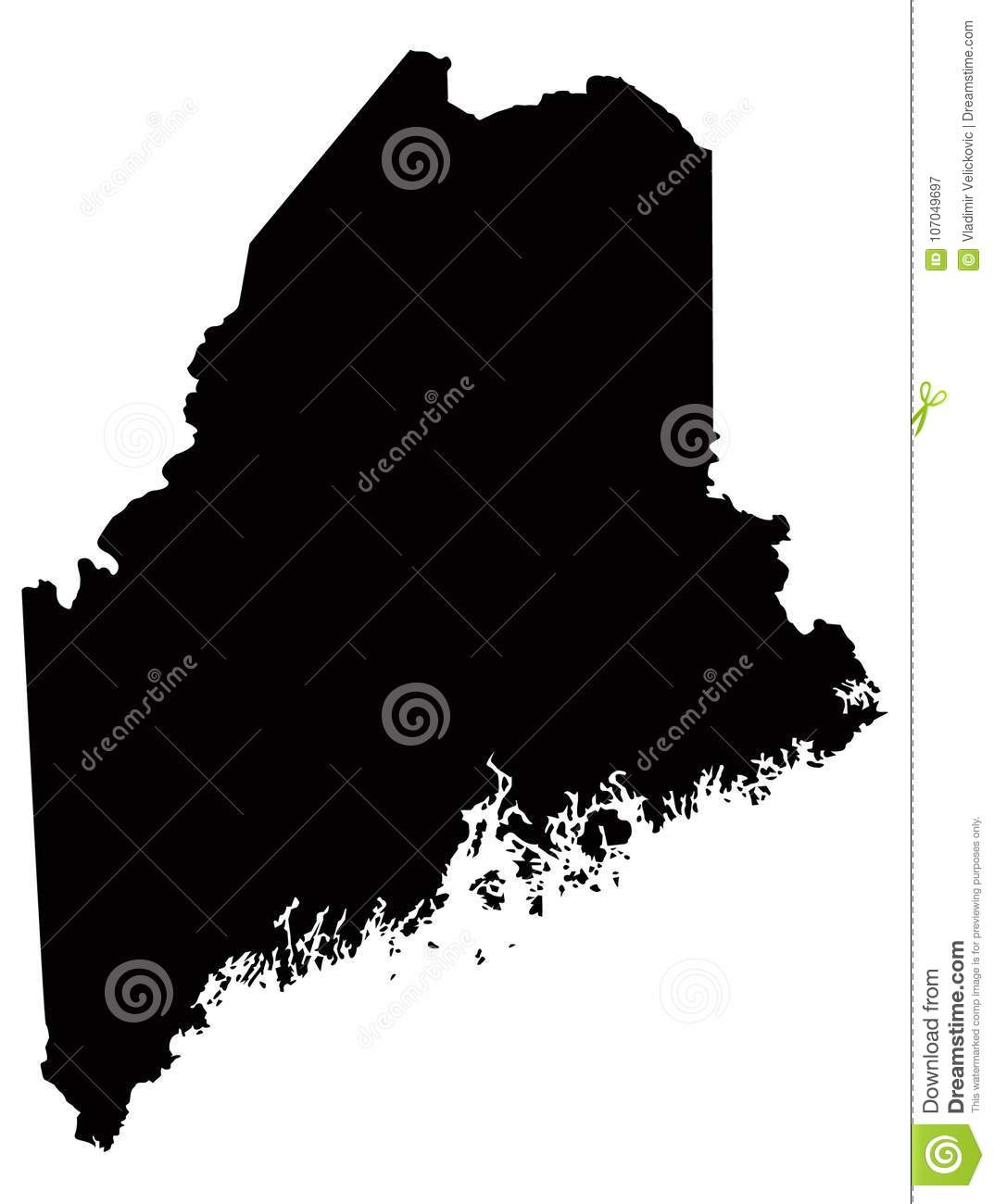 Maine Map - State In The United States O America Stock ...