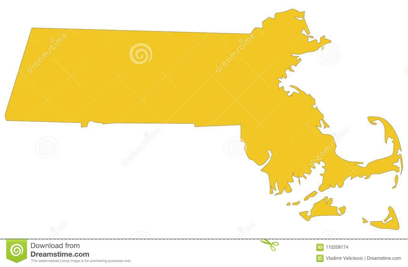 Massachusetts Map State In The New England Region Of The