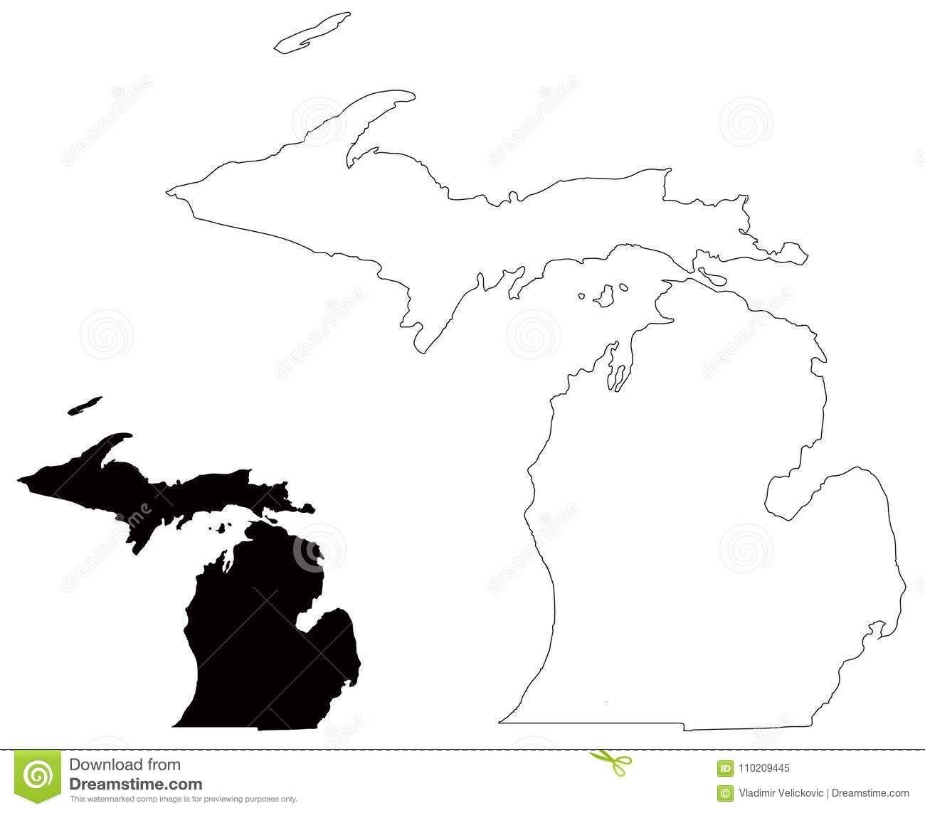 michigan map state in the great lakes and midwestern regions of