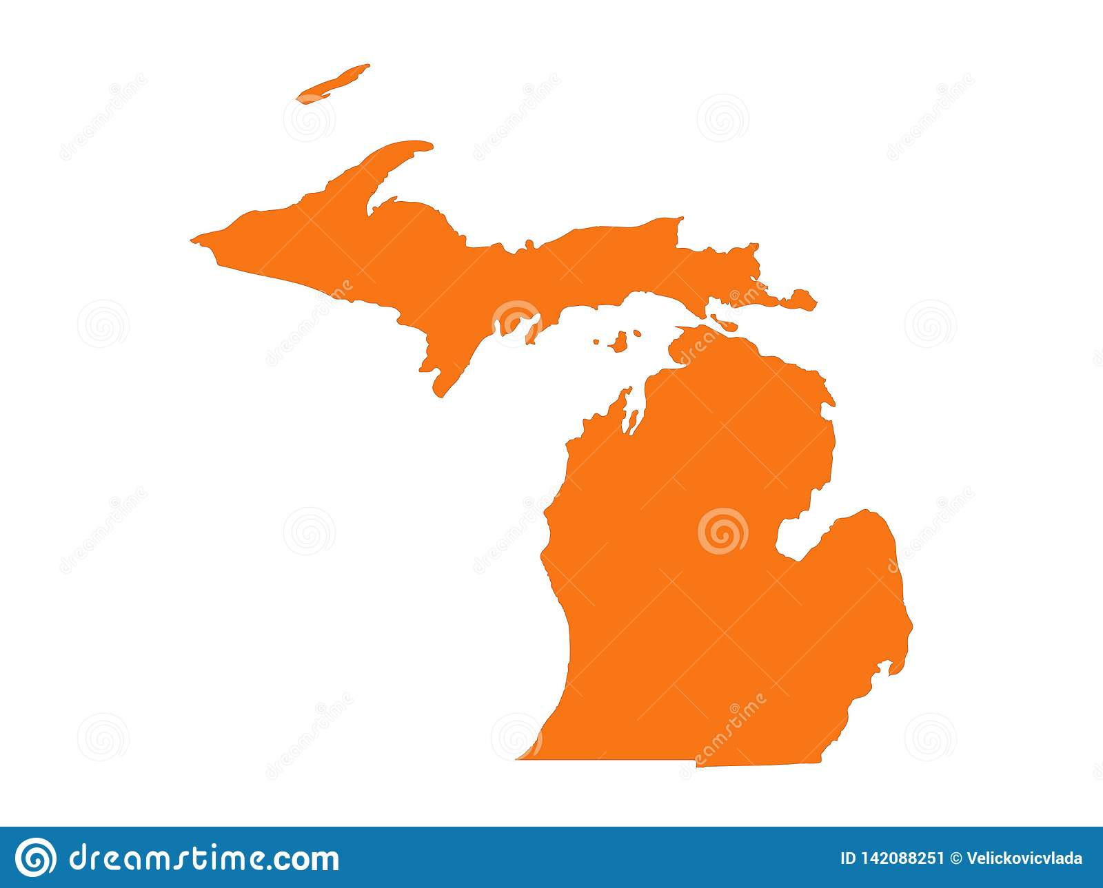 Michigan Map - State In The United States Stock Vector ...