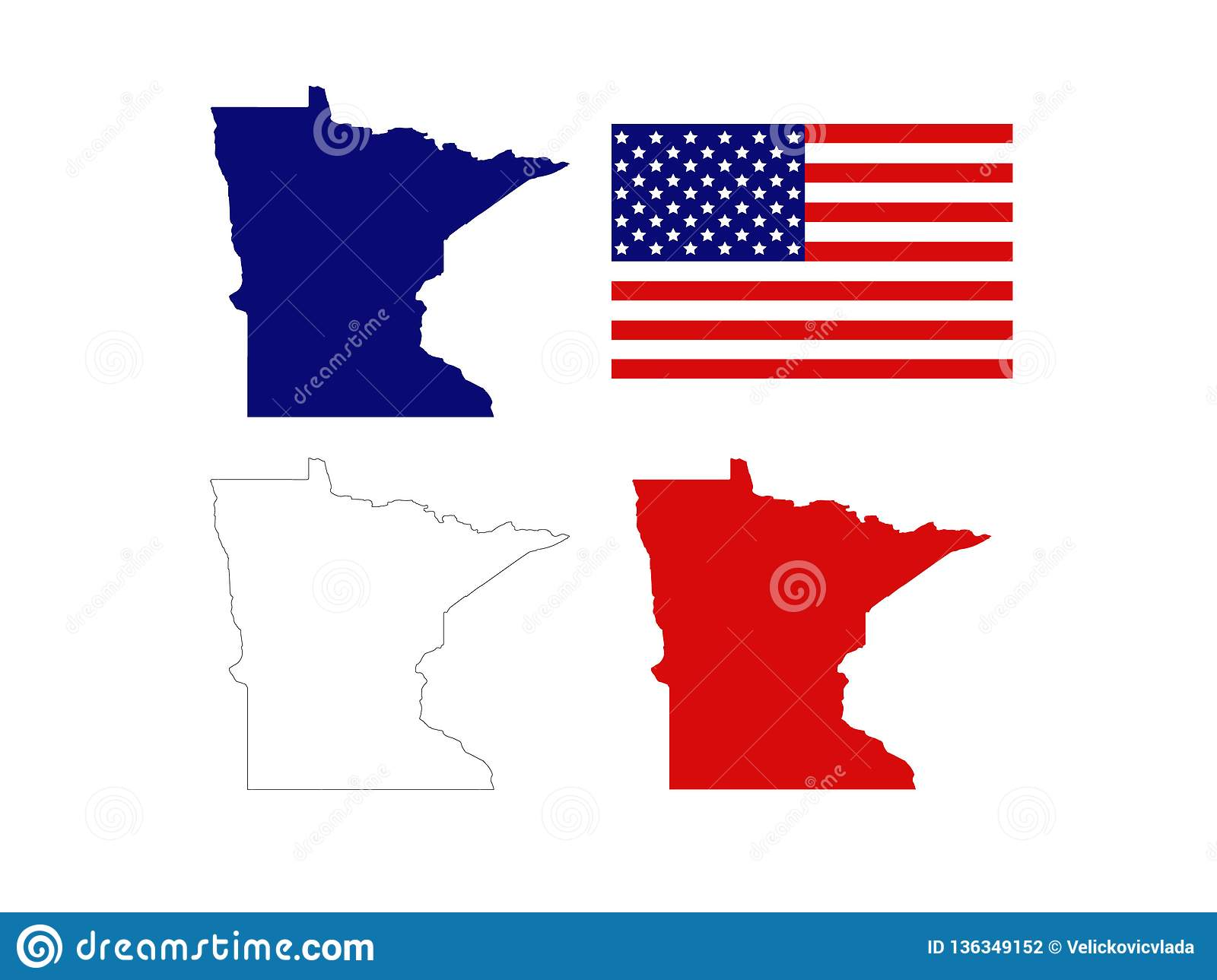 Image of: Minnesota Maps With Usa Flag State In Northern Regions Of The United States Stock Vector Illustration Of America North 136349152