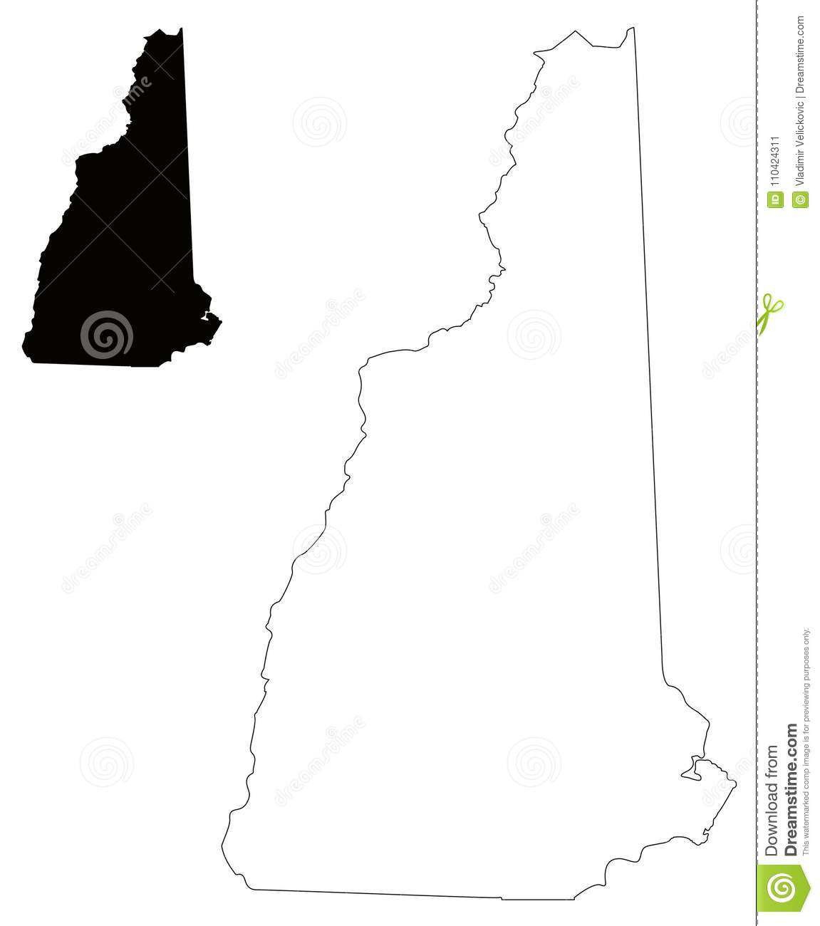 Map Of Usa And England.New Hampshire Map State In The New England Region Of The