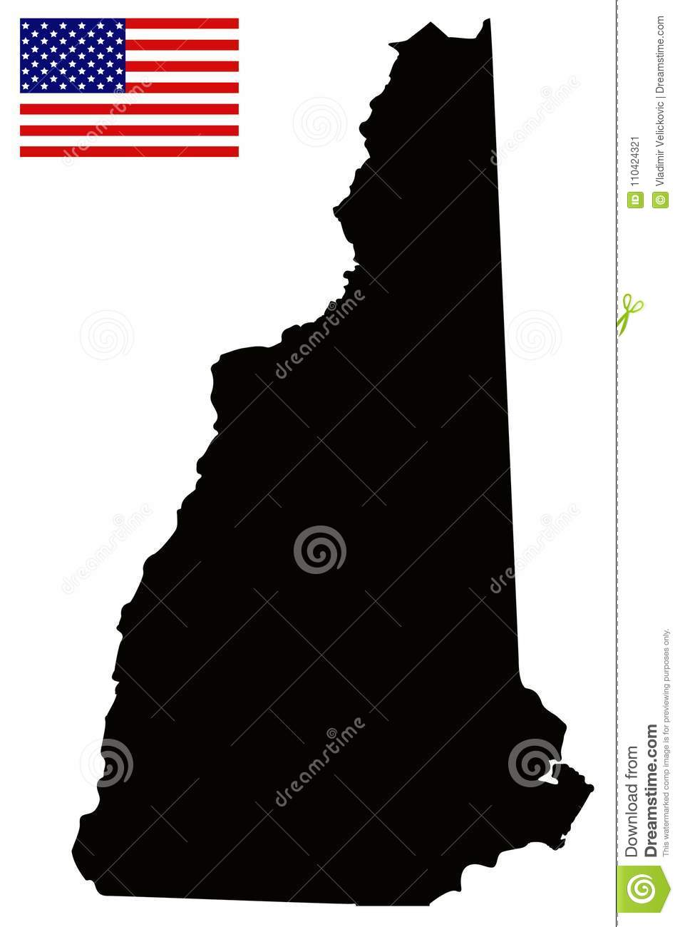 New Hampshire Map With Usa Flag State In The New England Region Of