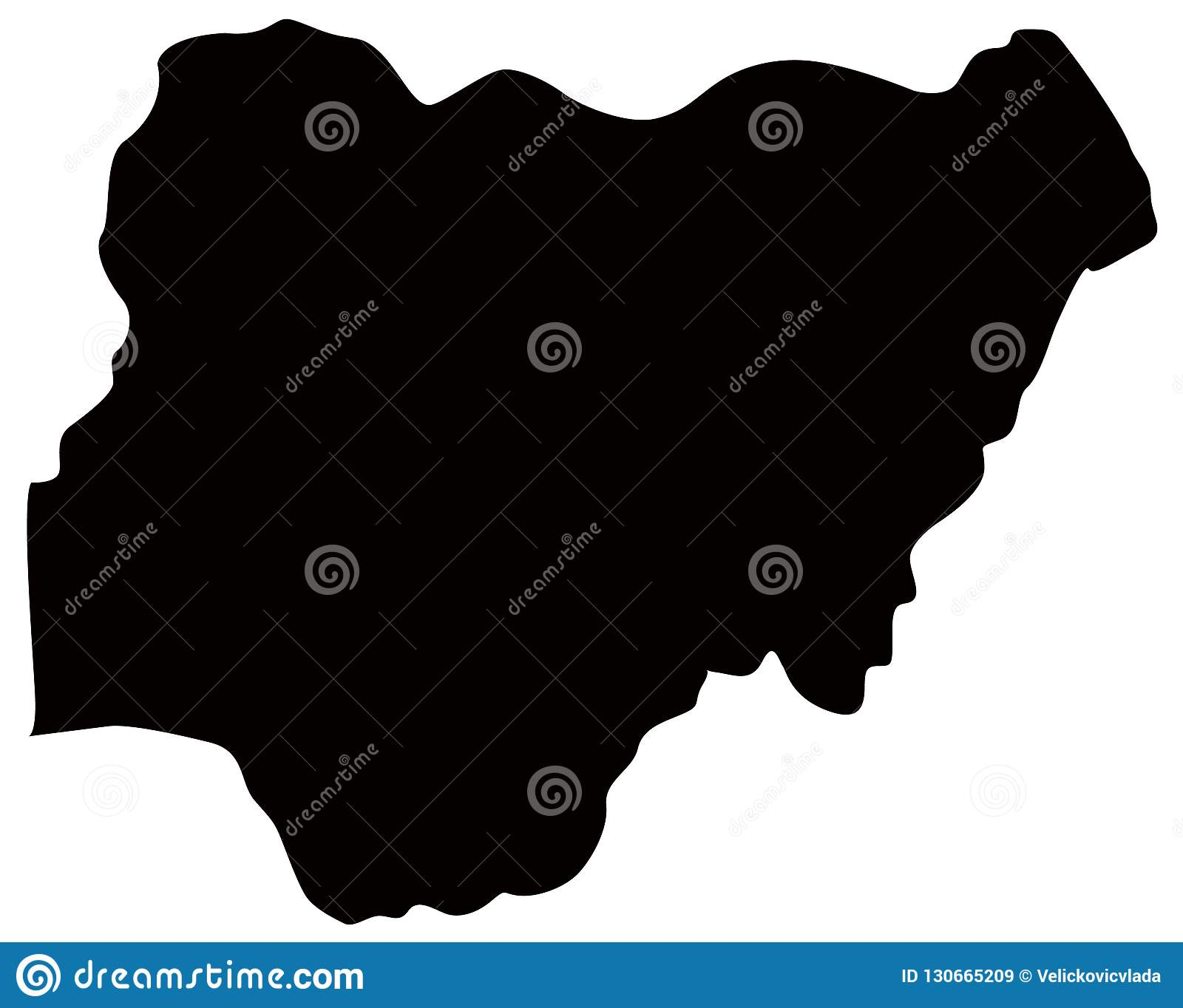 Nigeria Map Country Between Central And West Africa Stock Vector