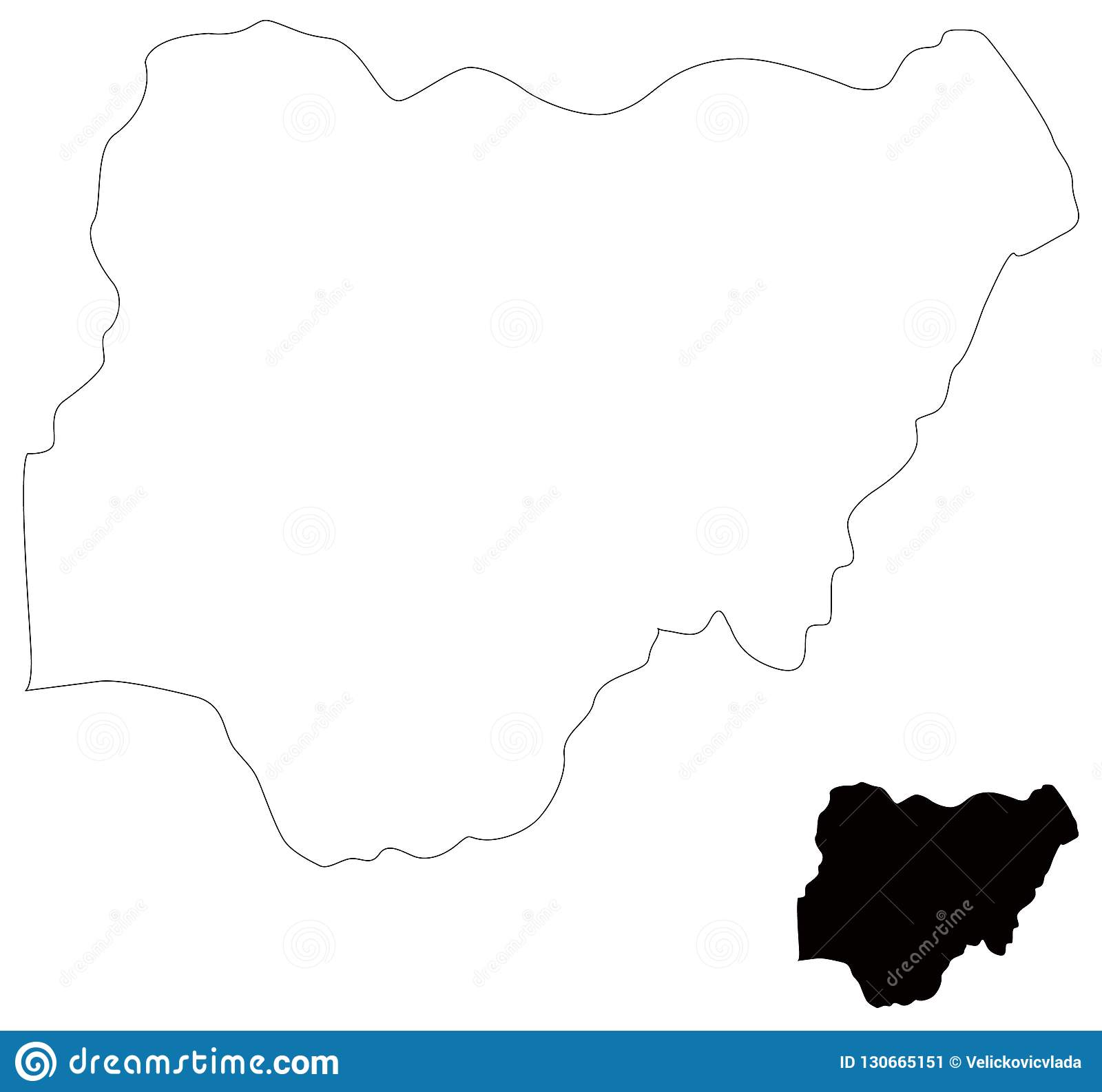 Africa Map Nigeria.Nigeria Map Country Between Central And West Africa Stock Vector
