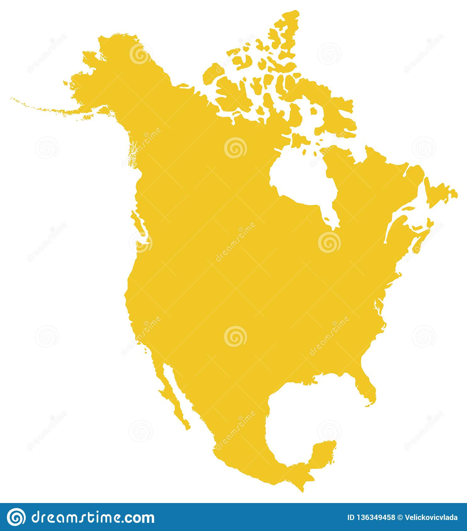 Western North America Map.North America Map Continent Stock Vector Illustration Of North