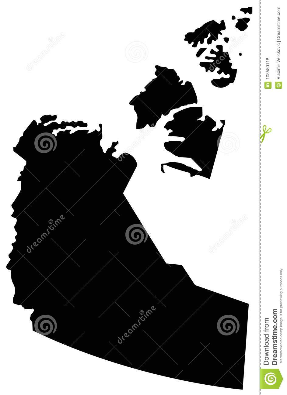 Northwest Territories Map - Territory In Northern Canada Stock ...