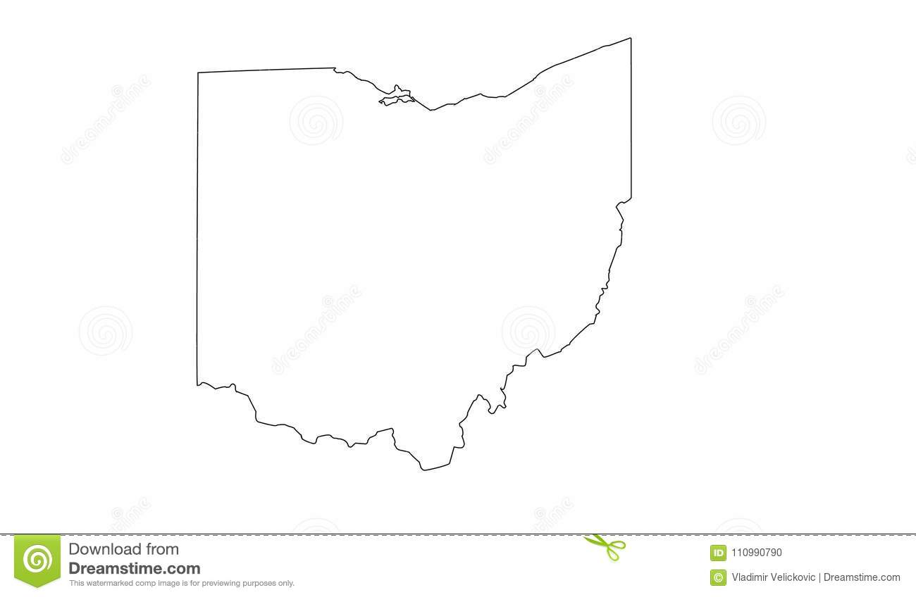 Ohio Map - Midwestern State In The Great Lakes Region Of The ...