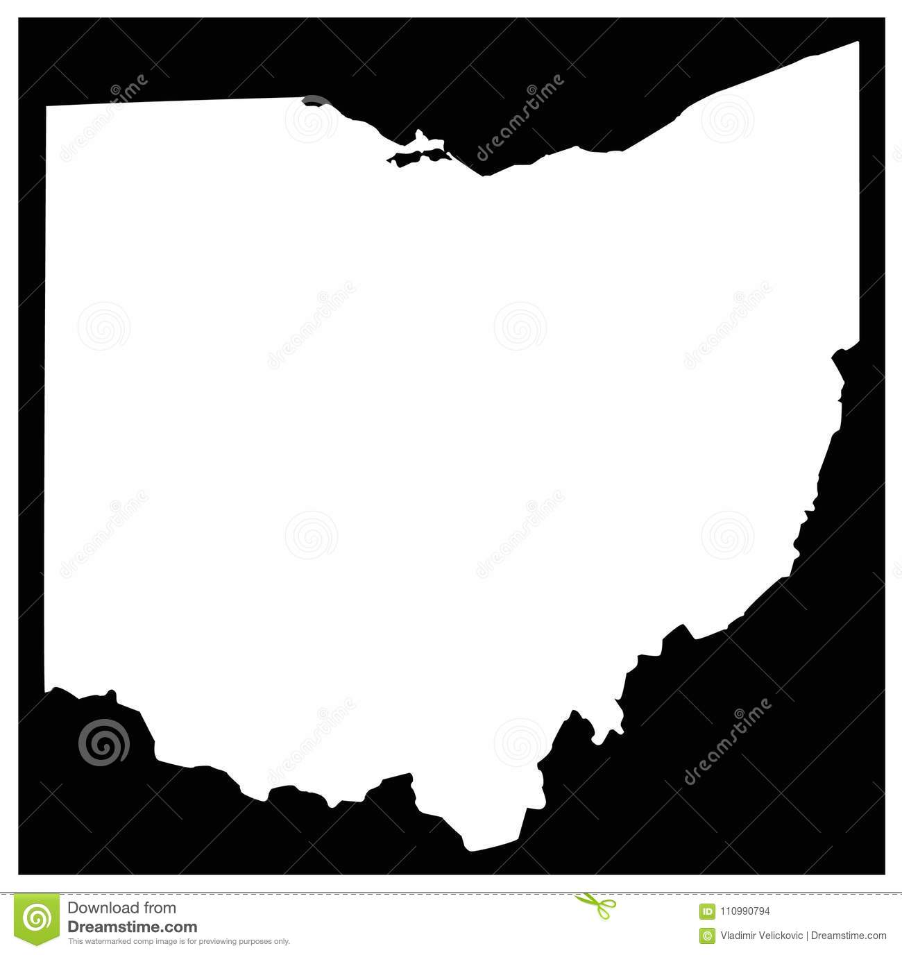 Ohio Map - Midwestern State In The Great Lakes Region Of The United ...
