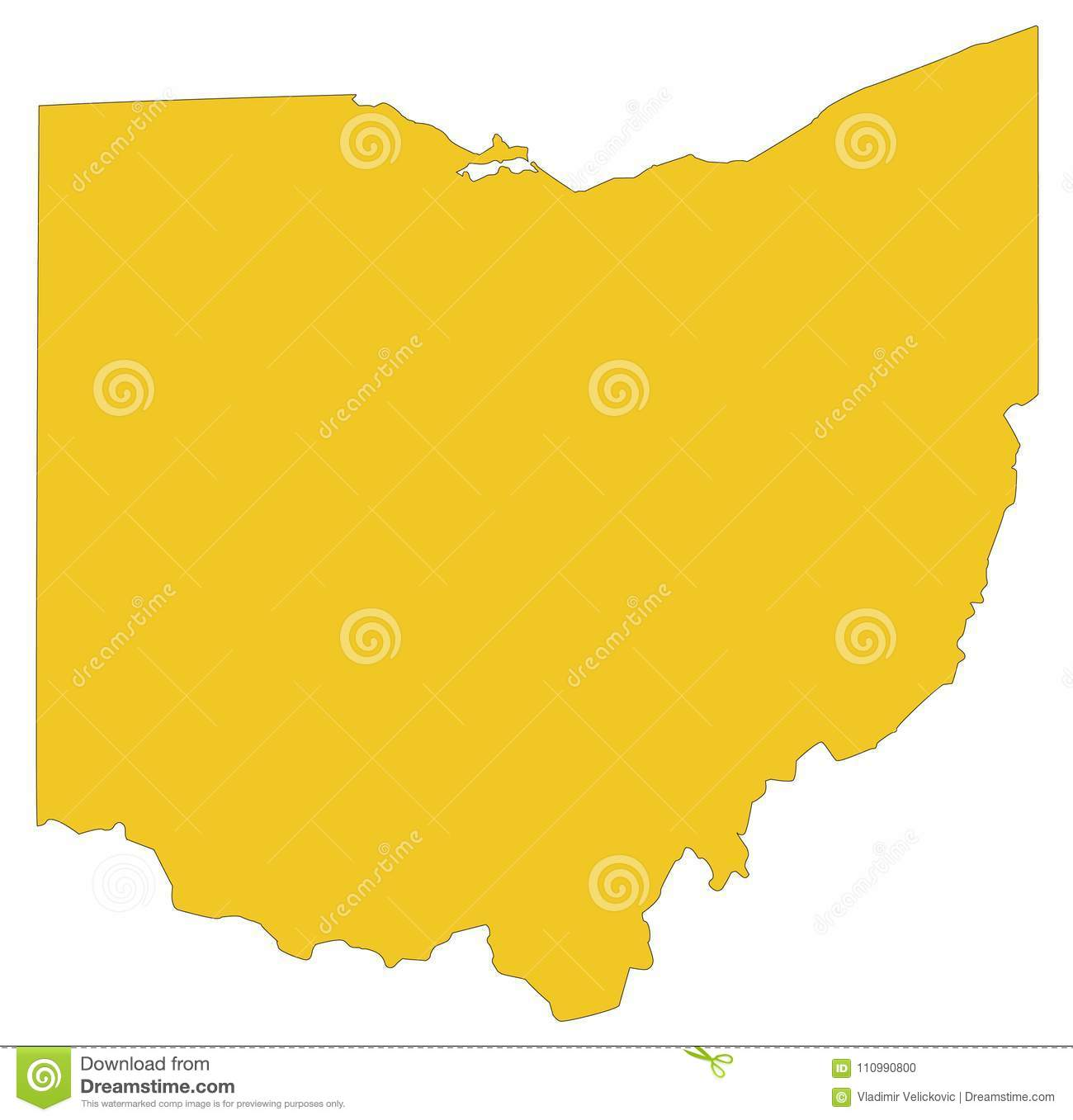 ohio map midwestern state in the great lakes region of the united