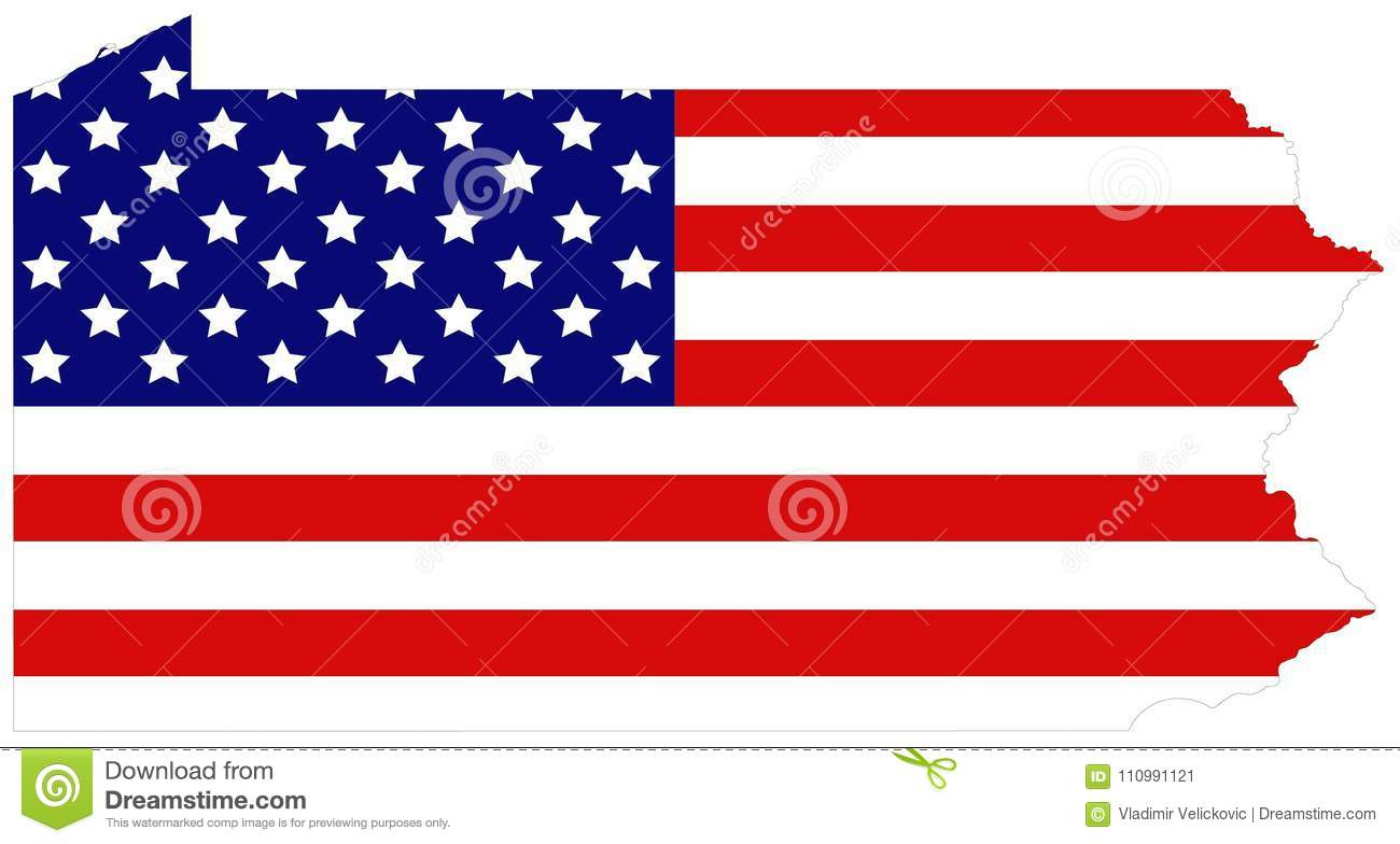 Pennsylvania Map With USA Flag - State Located In The Northeastern ...